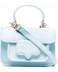 Chiara Ferragni Embossed-logo Faux-leather Satchel - Blue