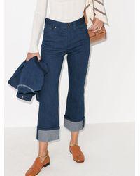 Chloé Turn-up Kick Flare Cropped Jeans - Blue