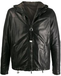 Low Brand Hooded Leather Jacket - Black
