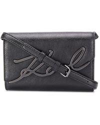 Karl Lagerfeld K/signature Metallic Belt Bag - Black