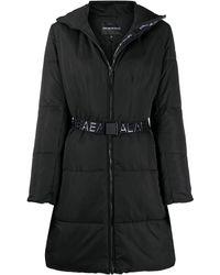 Emporio Armani ベルテッド パデッドコート - ブラック