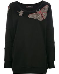 Jo No Fui Butterfly Embroidered Knitted Top - Black