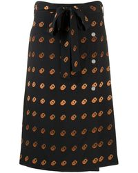 COACH Multi-print Wrap Skirt - Black