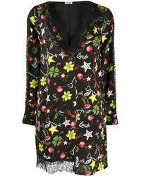 Liu Jo V-neck Scalloped Lace Shift Dress - Black