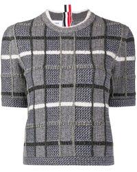 Thom Browne Check-pattern Short-sleeved Jumper - Grey