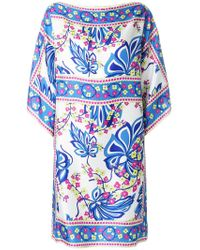 P.A.R.O.S.H. Floral Printed Kaftan Dress - Blue