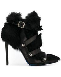 Frankie Morello - Rabbit Fur Buckle Detail Boots - Lyst
