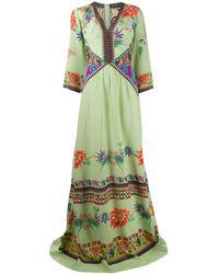 Etro Платье Макси С Цветочным Принтом - Зеленый