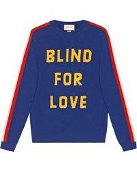 Gucci Blind For Love En Tijgerwol Trui - Blauw