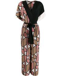 Diane von Furstenberg Gewickelter Jumpsuit mit Print - Schwarz