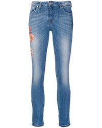 Blumarine - Cropped Floral Sequinned Jeans - Lyst