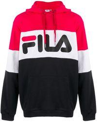 Fila Sweat à capuche ample colour block - Rouge