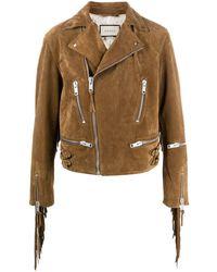Gucci Fringed Biker Jacket - Brown