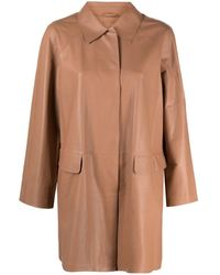 DESA NINETEENSEVENTYTWO Leather Shirt Jacket - Brown