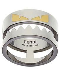 Fendi Enameled Bag Bugs Ring - Metallic