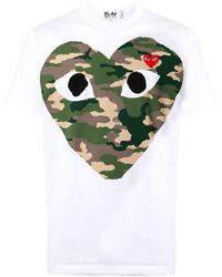 COMME DES GARÇONS PLAY T-shirt con stampa camouflage - Bianco