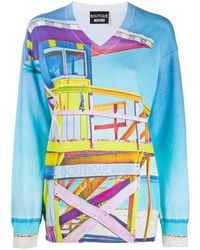 Boutique Moschino Knitted Beach Print Sweater - Blue