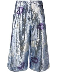 Jacquemus Floral Sequin Embellished Cropped Pants - Blue
