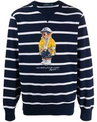 Ralph Lauren ストライプ フリーススウェットシャツ - ブルー