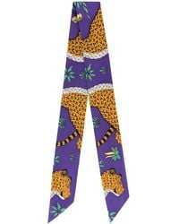 Hermès Twilly Les Leopards スカーフ - パープル