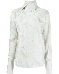Shanghai Tang X Yuni Ahn Floral-jacquard Qipao Collar Blouse - Green