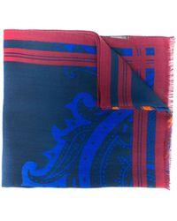 Etro プリント スカーフ - ブルー