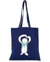 Societe Anonyme Logo Print Tote - Blue