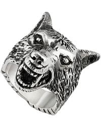 Gucci Anger Forest Ring Met Wolfskop - Metallic