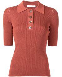 Nobody Denim Pointelle Polo Shirt - Brown