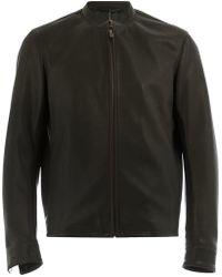 AJMONE - Collarless Biker Jacket - Lyst
