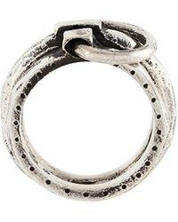 Henson Carved Linked Ring Set - Metallic