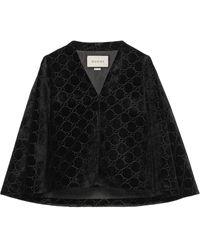 Gucci Cape en velours à motif GG - Noir