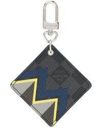 Louis Vuitton プレオウンド ダミエ グラフィット キーリング - ブルー