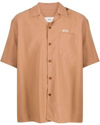 AMI Embroidered Logo Shirt - Brown