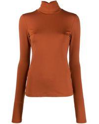 Styland Stretch-fit Turtleneck Top - Orange