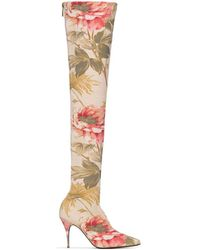 Zimmermann Floral 100mm Over-the-knee Boots - Pink