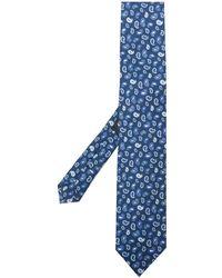 Etro Seidenkrawatte mit Paisley-Print - Blau