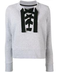 DKNY - Lace-up Fitted Sweatshirt - Lyst