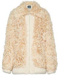 Miu Miu Textured Shearling Jacket - Natural