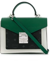 MCM Patricia Visetos Leather Block Small Satchel - Green