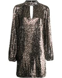 MILLY Robe brodée de sequins - Marron