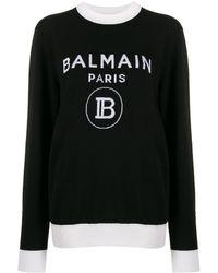 Balmain Pull en laine à logo - Noir