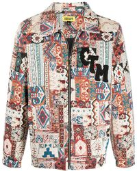 Chinatown Market Tapestry Patchwork Shirt Jacket - White
