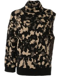 Ports 1961 Camouflage One Sleeve Sweater - Black