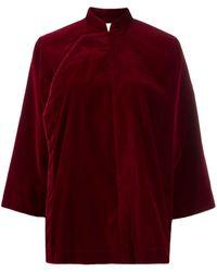 Comme des Garçons Mandarin Collar Velvet Jacket - Red