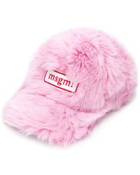 MSGM - Logo Patch Faux Fur Hat - Lyst