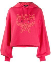 MCM Logo-print Cropped Hoodie - Red