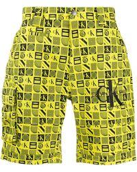 Calvin Klein ロゴ ショートパンツ - イエロー