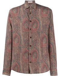 Etro Seidenhemd mit Paisley-Print - Braun