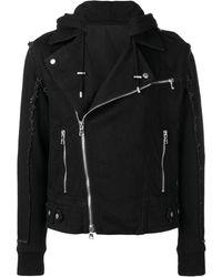 Balmain Off-centre Front Zipped Jacket - Black